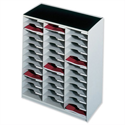 Mailsorter Plastic Stackable 36x A4 Compartments Grey Paperflow Modulodoc