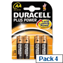 Duracell Plus AA 1.5V Battery Alkaline MN1500B4 Pk 4