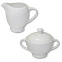 White Fine Bone China Sugar Bowl and Jug