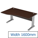 Komo Cantilever Wave Office Desk Left Hand W1600xD1000-800xH725mm Dark Walnut