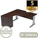 Radial Office Desk Left Hand with 600mm Desk-High Pedestal W1600xD1600xH725mm Dark Walnut Komo