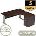 Radial Office Desk Right Hand With 600mm Desk-High Pedestal W1600xD1600xH725mm Dark Walnut Komo