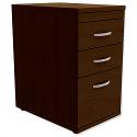 Filing Pedestal Desk-High 3-Drawer 600mm Deep Dark Walnut Kito