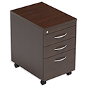 Filing Pedestal Mobile Tall Under-Desk 3-Drawer Dark Walnut Kito