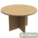 Round Meeting Table X-Panel Legs Dia1200xH725mm Oak Kito