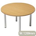 Trexus Boardroom Table Round Post Leg Dia1200xH725mm Beech