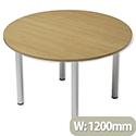 Trexus Boardroom Table Round Post Leg Dia1200xH725mm Oak