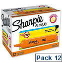 Sharpie Fluo XL Highlighter Chisel Tip 3 Widths Orange Ref 1825656 [Pack 12]