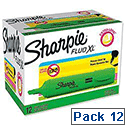 Sharpie Fluo XL Highlighter Chisel Tip 3 Widths Green Ref 1825657 [Pack 12]