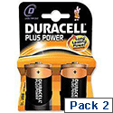 Duracell Plus Power D Battery Alkaline 1.5V Pack 2