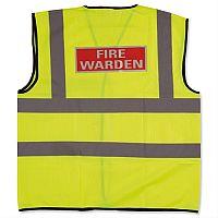 IVG Fire Warden Vest  High Visibility M Yellow with Fire Warden Reflective Logo Medium Ref IVGSFWVM