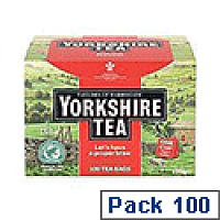 Yorkshire No Envelope String and Tag Tea Bags Ref A07698 [Pack 100]