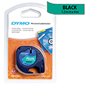 Dymo LetraTag Tape Plastic 12mmx4m Black on Green S071640
