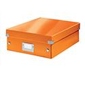 Leitz WOW Click and Store Organiser Box Medium Orange Ref 60580044