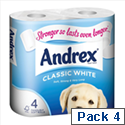 Andrex Toilet Paper Rolls Classic White Ref M01389 Pack of 4
