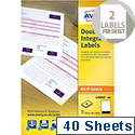 Avery Integrated Double Label Sheet 85x54mm White (40 Sheets)