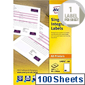 Avery Double Integrated Label Sheet 100x45mm (200 Total Labels)