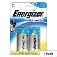 Energizer Advanced (C) Alkaline Batteries (Pack of 2 Batteries)