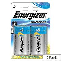 Energizer Advanced (D) Alkaline Batteries (Pack of 2 Batteries)