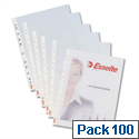 Esselte Plastic Punched Pockets Heavyweight A4 Clear Pack 100