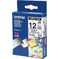 Brother P-touch TZe-FA3 12mm x 3m Blue On White Fabric Tape