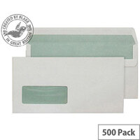 Purely Environmental DL White Wallet SS Window Natural Envelopes (Pack of 500)