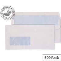 Purely Everyday White DL Wallet Self Seal Low Window Envelopes (Pack of 500)