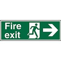 Prestige Sign 2mm DS 300x100 Fire Exit Man Running & Arrow Pointing Right