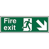 Prestige Sign 2mm DS 300x100 Fire Exit Man Running Right & Arrow Pointing Down