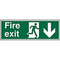 Prestige Sign 2mm 300x100 Fire Exit  Man Running Right & Arrow Pointing Down