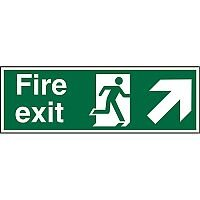 Prestige Sign 2mm DS 300x100 Fire Exit Man Running Arrow Pointing Up Right