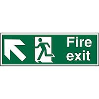 Prestige Sign 2mm DS 300x100 Fire Exit Man Running Arrow Pointing Up Left