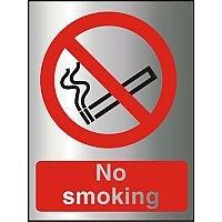 Brushed Aluminium Effect Acrylic Sign 2mm 150x200 No Smoking