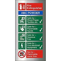 Brushed Aluminium Sign 100x200 1.5mm Fire Extinguisher ABC Powder