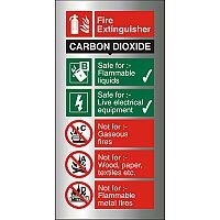 Brushed Aluminium Comp Sign 100x200 1.5mm Fire Extinguisher CO2 Self Adhesive