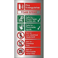 Brushed Aluminium Sign 100x200 1.5mm Fire Extinguisher Foam Spray Self Adhesive