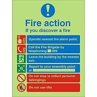 Photolum Sign 200x300  FireAction If You Discover A Fire