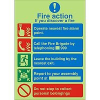 Photolum Sign 200x300 Fire Action If You Discover A Fire Self Adhesive Vinyl