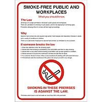 No Smoking Safety Sign A2 S/A Vinyl Smoke-Free Public & Work Places