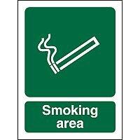 No Smoking Safety Sign 300x400 1mm Semi Rigid Plastic Smoking Area