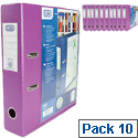 Elba Lever Arch File Clear PVC Cover A4 Purple Pack 10