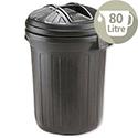 Strata Refuse Bin Secure Push-On Lid 80 Litre Black Ref GN343 152316