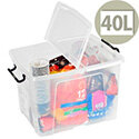 Strata Smart Storage Box Clip on Lid 40 Litres Clear