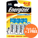 Energizer High-tech AA Battery Alkaline LR06 1.5V Pack 4 + 2 FREE