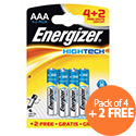 Energizer High Tech AAA Battery Alkaline LR03 1.5V Pack 4 + 2 FREE