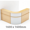 Curved Reception Unit In Beech 1600 x 1600mm