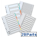 Concord Recycled A-Z Dividers 20-Part A4 Printed Tabs