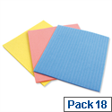 Sponge Cloths 180x180mm Assorted Ref 0224/0233 Pack 18 174982