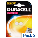Duracell D357 Battery Silver Oxide Pack 2