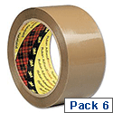 Scotch Packing Tape Low Noise 48mmx66m Buff Pack of 6 Ref 3120BT 195692